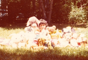 Circa 1970s, a selfie with my stuffed animals